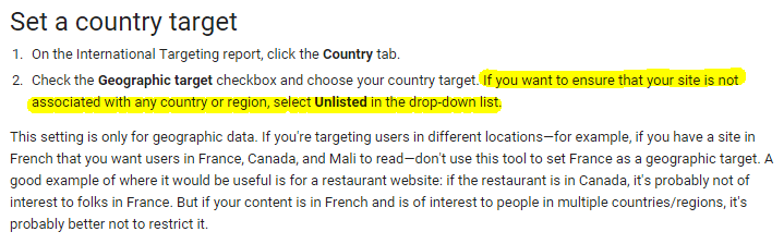 unlisted geographic target